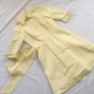 Talbots 100% silk pastel yellow shirt dress